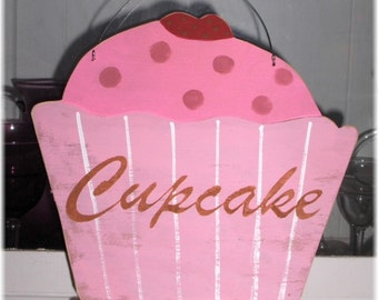 Cupcake Shabby Cottage Pink & Dark Pink Wood Sign Custom Kitchen Kids Room Birthday Photo Prop