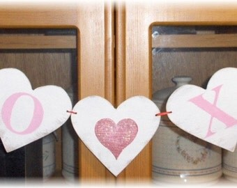 Valentine Banner Garland XO XO Hearts Shabby Chic Red And Pink Custom Colors Wood Sign