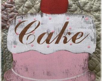 Cake Pink Shabby Cottage Vintage Inspired Wood Sign Custom Bakery Pastry