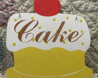 Cake Shabby Cottage Chic Yellow Wood Sign Bakery Kitchen Pastry Custom