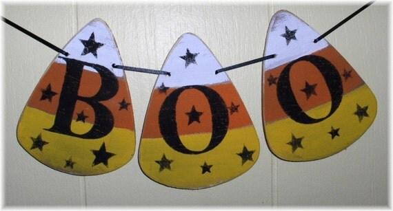 Halloween BOO Banner Candy Corns Garland Wood Holiday Decoration Custom