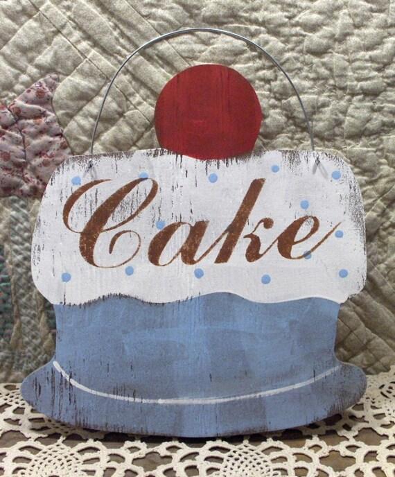 Shabby Cottage Light Blue Cake Sign Kitchen Bakery/ Pastry Custom Sign