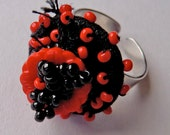 """Beaded ring - covered button ring - """" One of those days """" adjustable and unique"""