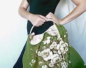 """Unique green floral linen bag - vintage 50s' Sanderson fabric tote  - """"A floral tribute"""""""