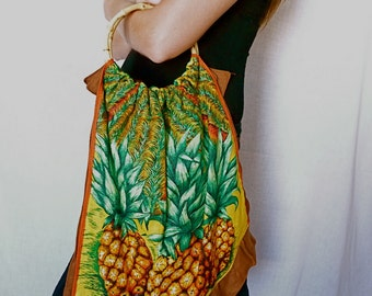 "Unique Handmade Sustainable Tote Bag of 1970s Retro Linen Tea Towel ""Pineapple Dreaming"""