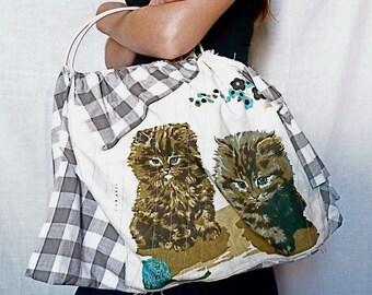 "Unique Handmade Vintage Tea Towel Bag Retro Calendar Tote ""Pretty Kitty"""