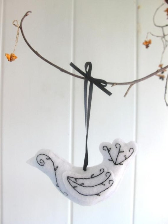 Hand Embroidered Felt Bird- White With Black Embroidery