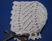 Lace Baby Bonnet knitting pattern PDF EASY Victorian style diagonal lace