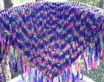 Self fringing shawl knitting pattern PDF USE any yarn Easy to Knit