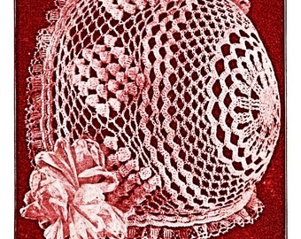 Crochet Baby Bonnet Pattern Popcorn Stitch Anne Orr 1917 PDF Vintage Lace