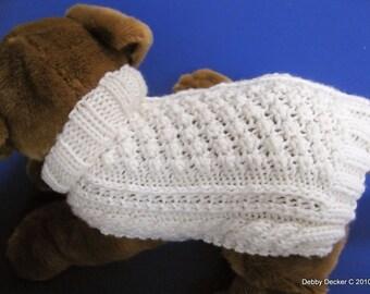 Aran Knit Dog Sweater knitting pattern - Garden Path design - downloadable PDF