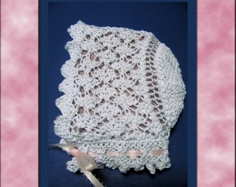 Lace Baby Bonnet knitting pattern PDF Victorian Diamond Lace design Immediate download