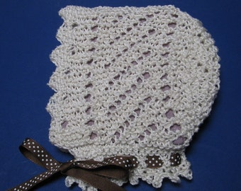 Lace Baby Bonnet knitting pattern PDF EASY Victorian style diagonal lace