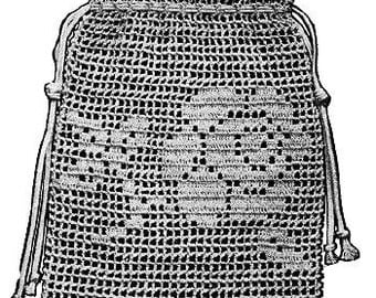 Crochet Wedding purse bag Tea Rose filet crochet design Vintage 1915 PDF pattern