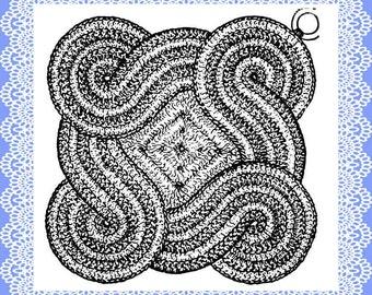 Vintage Crochet Potholder pattern Scroll Design 1949 Downloadable PDF