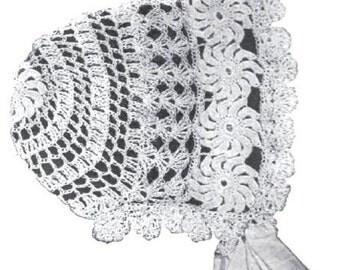 Crochet Baby Bonnet Pattern PDF Vintage Crochet Wheel Lace from 1904 Edwardian Antique