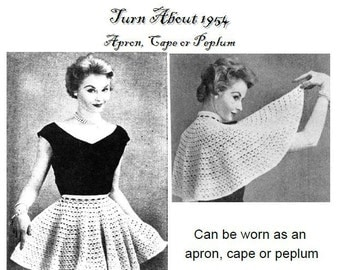 Turn about apron and cape capelet Vintage crochet pattern 1954