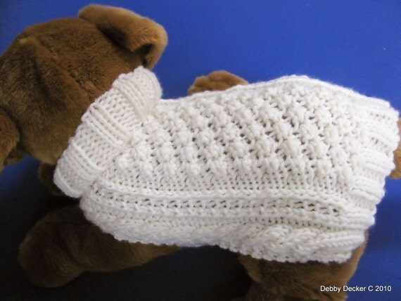 Easy to knit Aran Knit Dog Sweater knitting pattern Garden