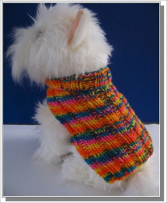 Knitted Patterns For Dog Sweaters : Dog Sweater Knitting pattern Basic Ribbed Design Very Easy to