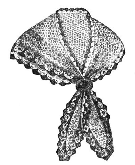 Victorian Knitted Lace Shawl or Neckerchief Knitting pattern Antique Vintage 1870 PDF