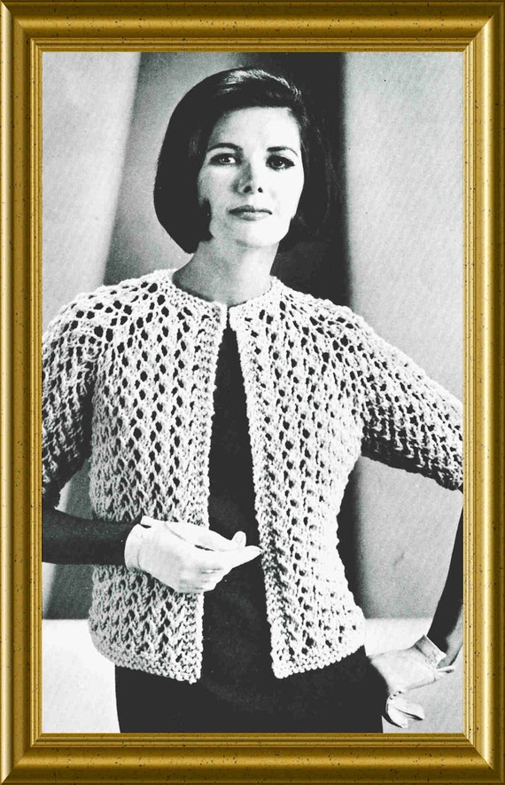 Lace Sweater Knitting Patterns : Lace Sweater Knitting Pattern 1960 Vintage Easy to Knit PDF