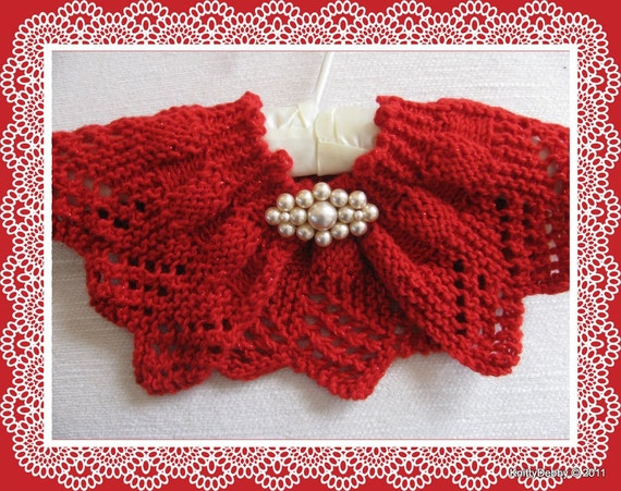 Knitting Patterns For Collar Scarf : Lace Collar or Scarf knitting pattern Candy Apple Red design