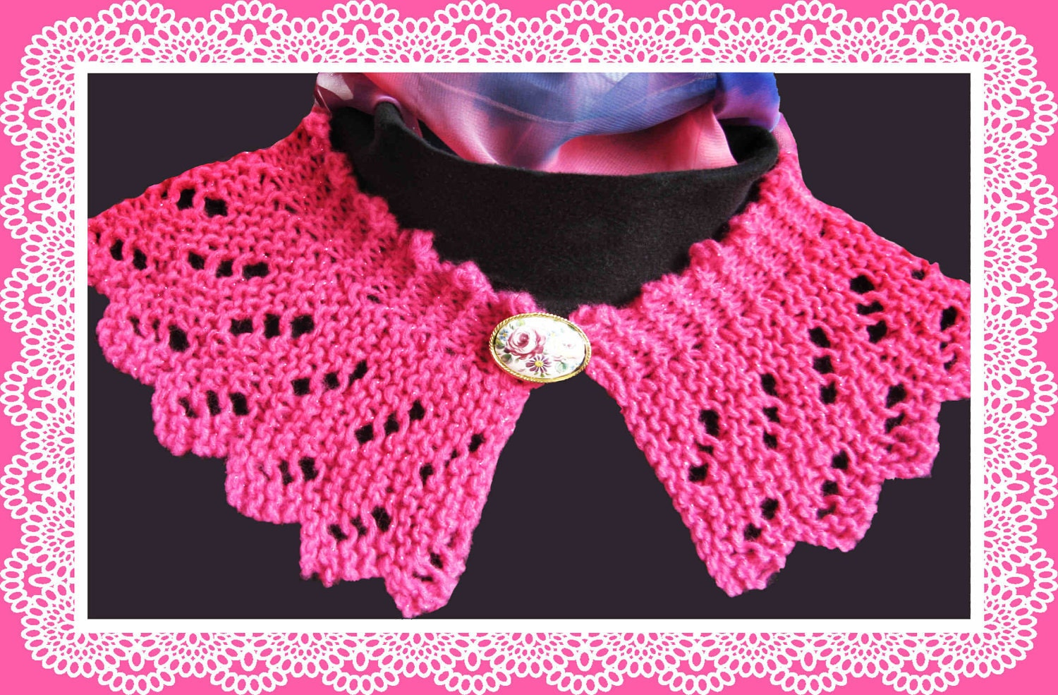 Knitting Patterns For Collar Scarf : Lace Collar knitting pattern Raspberry Ripple design