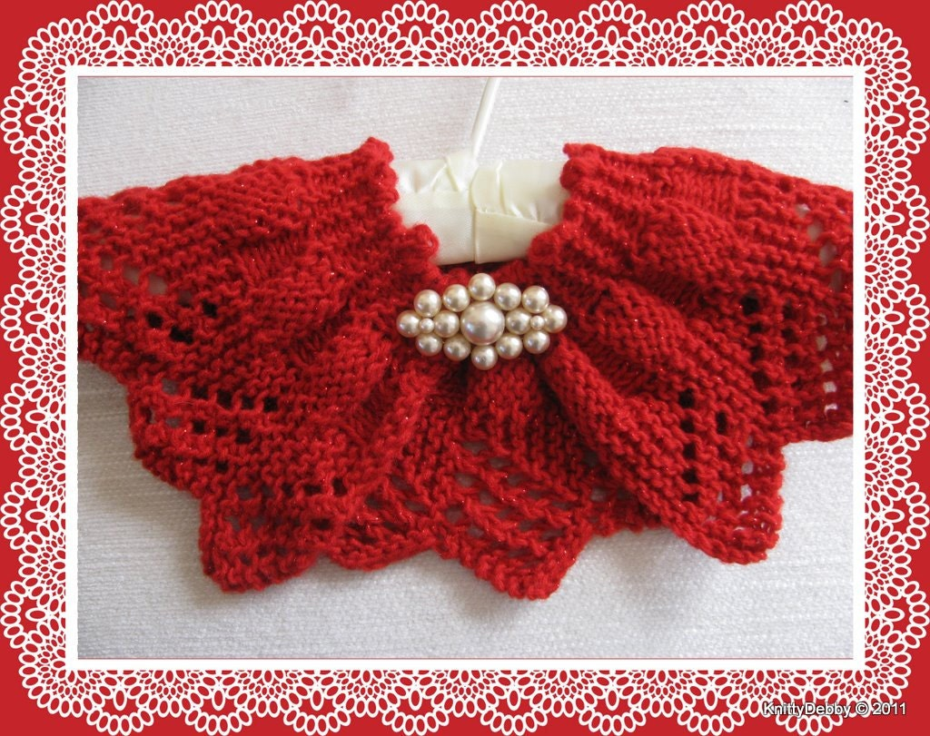 Knitting Pattern For Lace Collar : Lace Collar or Scarf knitting pattern Candy Apple Red design