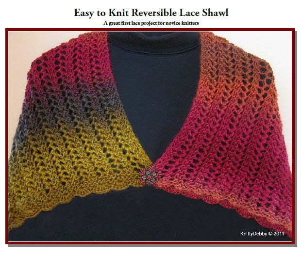 Items similar to Lace Shawl Knit Pattern Reversible Easy ...