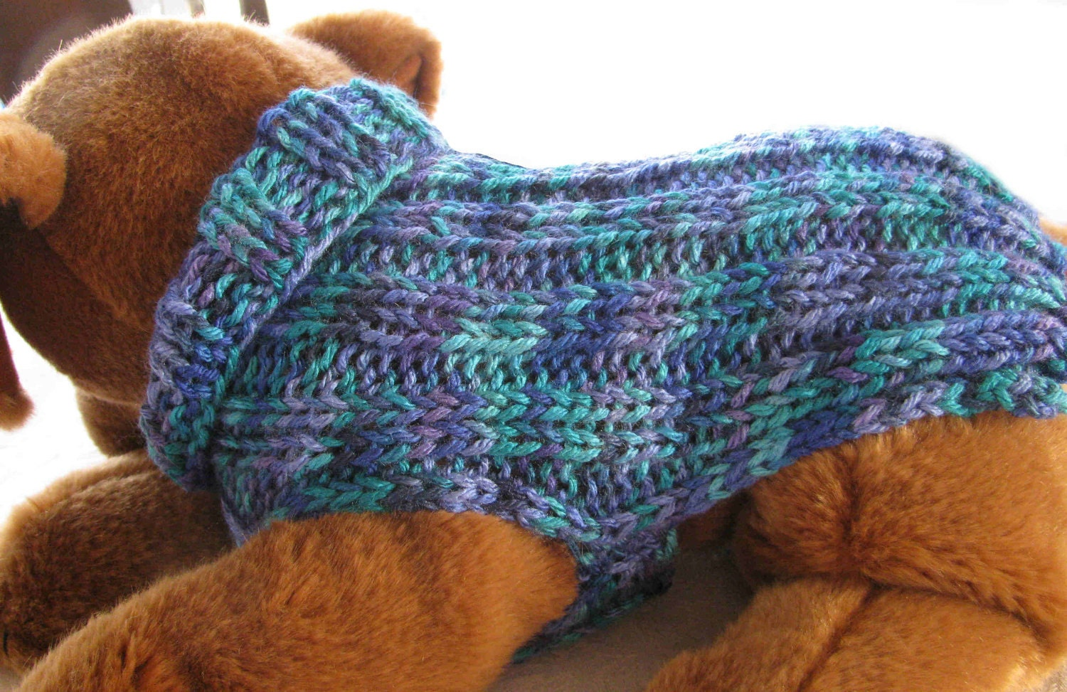 Knit Dog Sweater Pattern Easy : Hand knit Dog Sweater Colors of the Sea Ribbed for by KnittyDebby