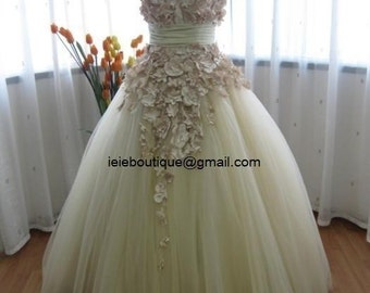 Beautiful Beige Tulle Autumn Fall Wedding Dress CM1005
