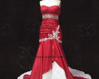 Scarlet Red Wedding Dress | Mermaid Wedding Dress | Trumpet Wedding Dress | Fit and Flare Wedding Dress |  Y1021