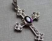 Antique Sterling Amethyst Marcasite Cross Pendant