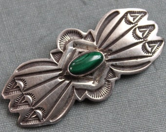 Navajo Malacite and Sterling Hand Stamped Brooch