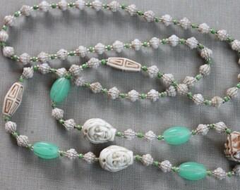 Max Neiger Art Deco Egyptian Pharaoh Czech Glass Necklace