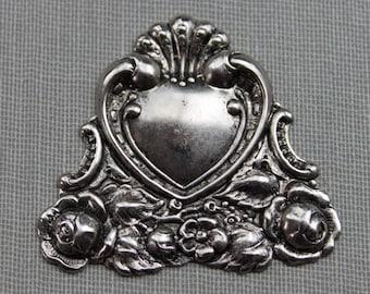 Art Nouveau Silver Repousse Heart Stamping