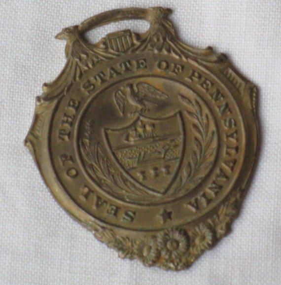 Antique Victorian Fob - Seal of the State of Pennsylvania Medallion 14k gp over Bronze