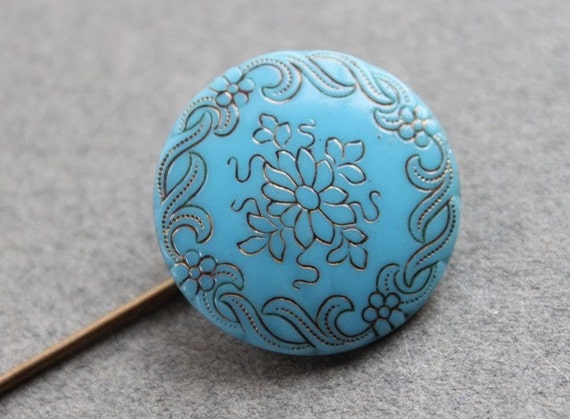 Victorian Turquoise Glass Stick Pin