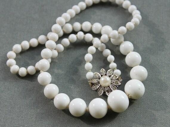 Antique Milk Glass Necklace with Rhinestone Flower Clasp