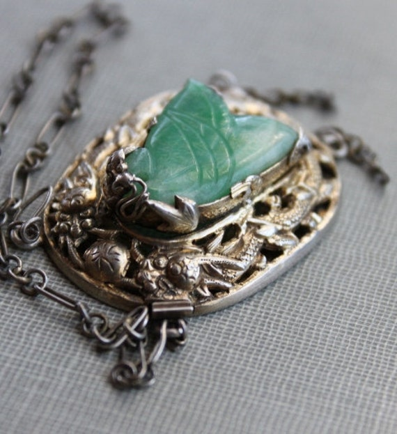 Antique Chinese Sycee No 23 Silver Dragon and Jade Clasp for Necklace / 19th Century Chinese Filigree Pendant