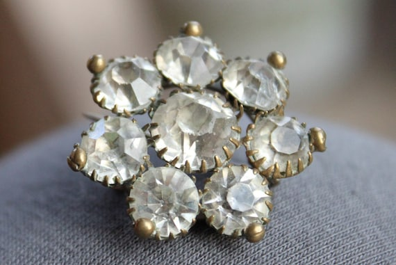 RESERVED /// Large Victorian French Paste Florette Brooch