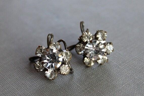 1940's Paste Wingback Earrings / Wedding Flowers