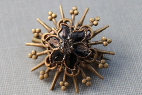 Art Nouveau Enamel and Paste Star Burst Brooch