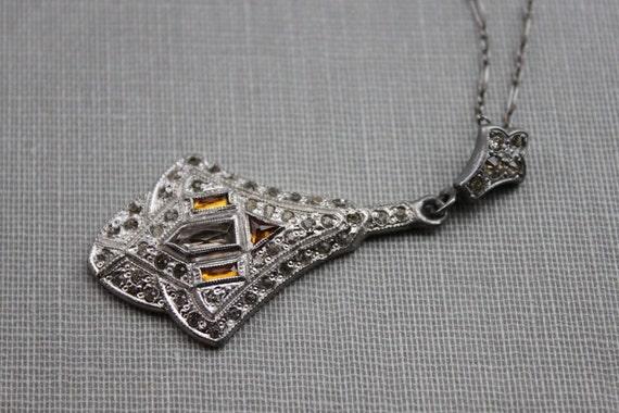 Edwardian Paste Lavalier Necklace with Honey Cognac Glass