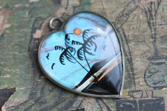 Antique Heart Butterfly Wing Pendant / Twilight in the Tropics
