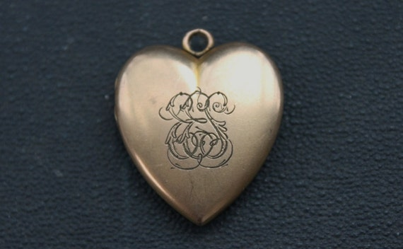 RESERVED / for Nicole / Large Victorian W&H Co Gold Heart Locket - EES - With Photographs
