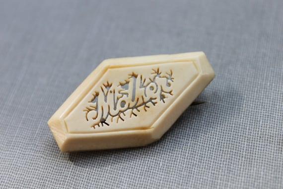 Victorian Carved Bone Mother Brooch