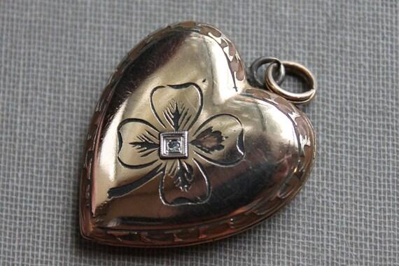 Victorian Diamond Four Leaf Clover Heart Locket