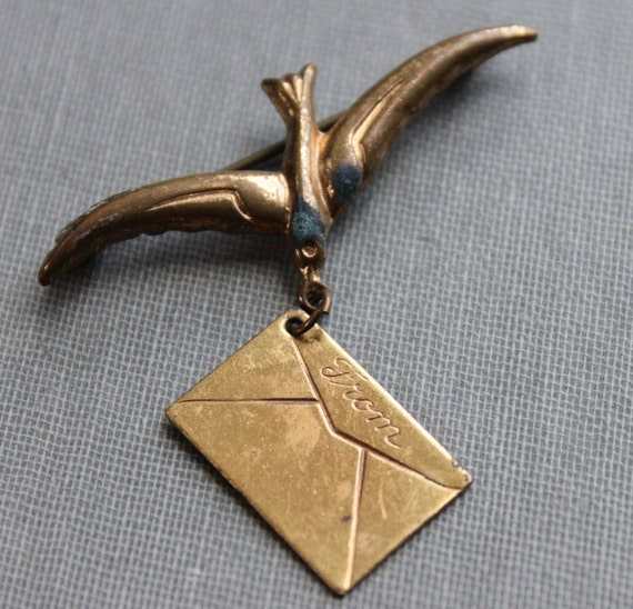 Antique Swallow with Love Letter Brooch