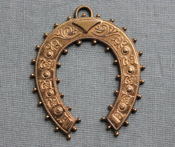 Large Etruscan Revival Horseshoe Pendant